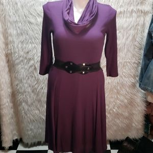 Robbie Bee Purple Ribbed Dress with Belt/Scarf